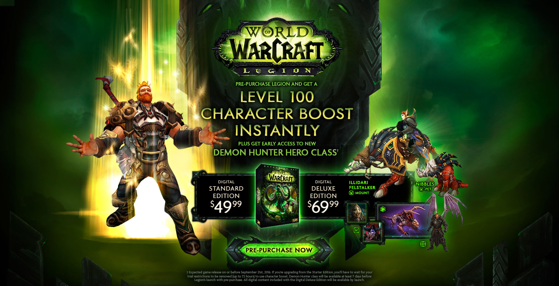 Legion releasing by september 2016, level 100 boost, early demon.